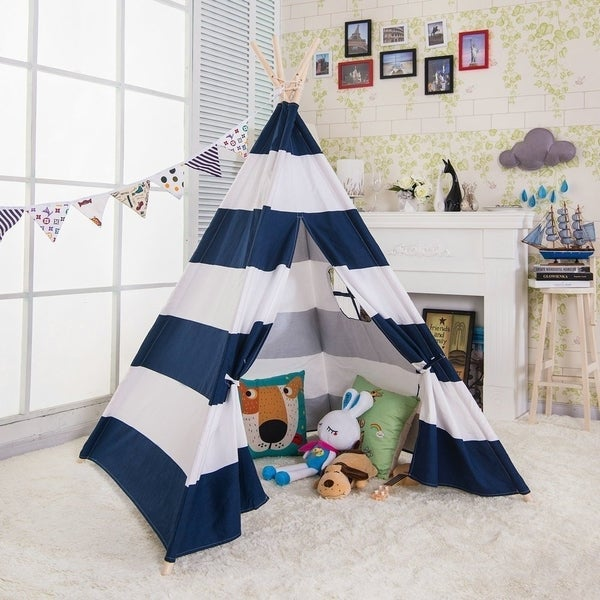 Canvas Teepee Tent for Kids with Carry Case