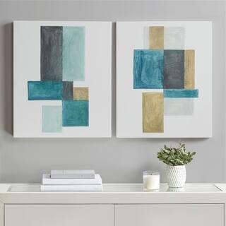 INK+IVY Skandi Blocks Multi Glass Coated Canvas Art 2 Piece Set