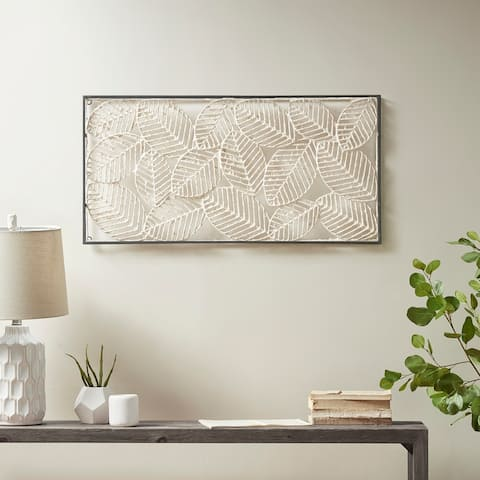 Madison Park Paper Cloaked Leaves Natural Paper Cloaked Wall Decor Metal Frame