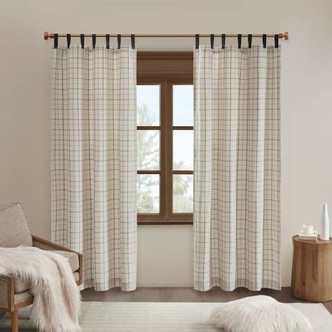 Madison Park Salford Plaid Faux Leather Tab Top Single Curtain Panel with Fleece Lining