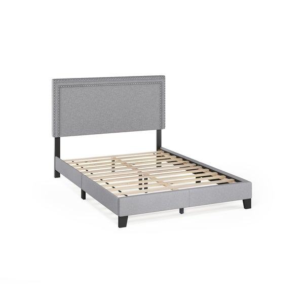 Furinno Laval Double Row Nail Head Bed Frame, 12PC Slat Style. Opens flyout.