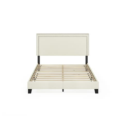 Furinno Laval Double Row Nail Head Bed Frame, 12PC Slat Style