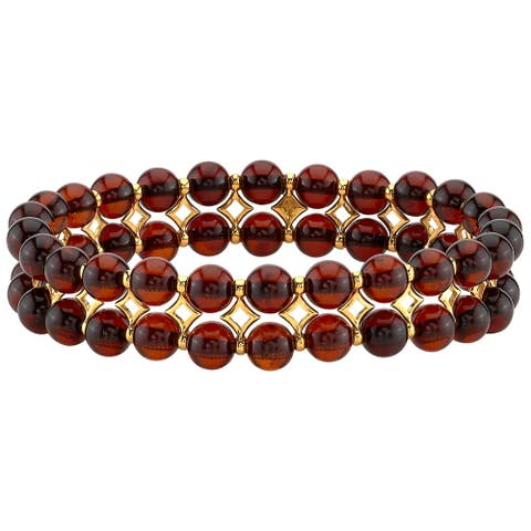 Baltic Amber Cherry Color Tennis Stretch Bracelet for Women, 7 inches