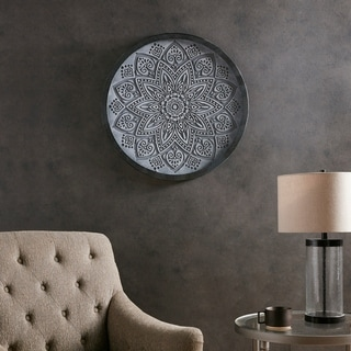 Madison Park Grey Medallion Carved Wall Panel