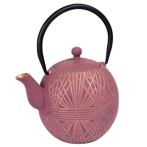 Creative Home 34 oz Cast Iron Tea Pot, New Gold and Purple Color,