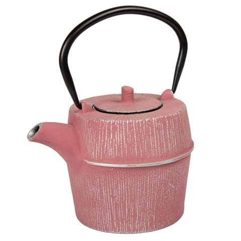 Creative Home 29 oz Cast Iron Tea Pot, Silver and Pink Color