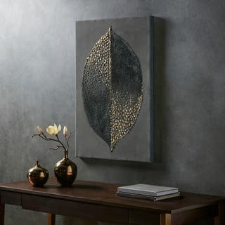 Madison Park Leaf Charcoal/ Gold Heavy Textured Canvas with Foil Embellishment