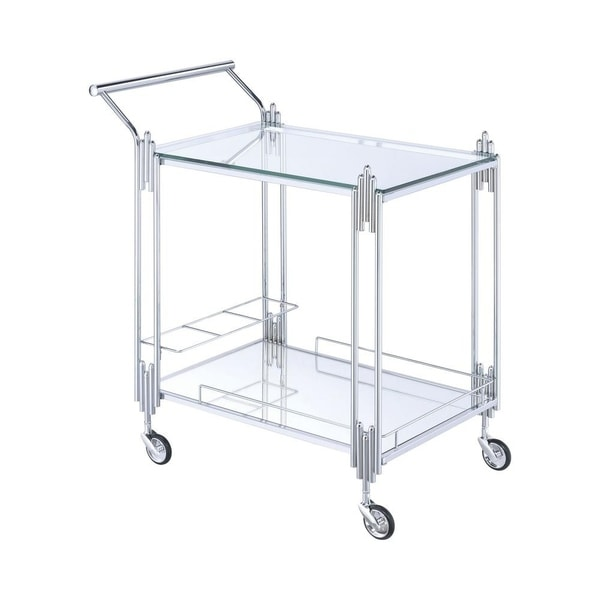 Metal and Mirror Rectangular Serving Cart with Open Shelf, Silver