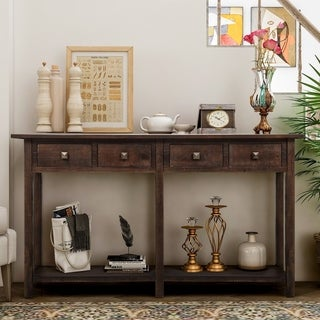 Merax Entryway 4-Drawers Brushed Texture Console Table
