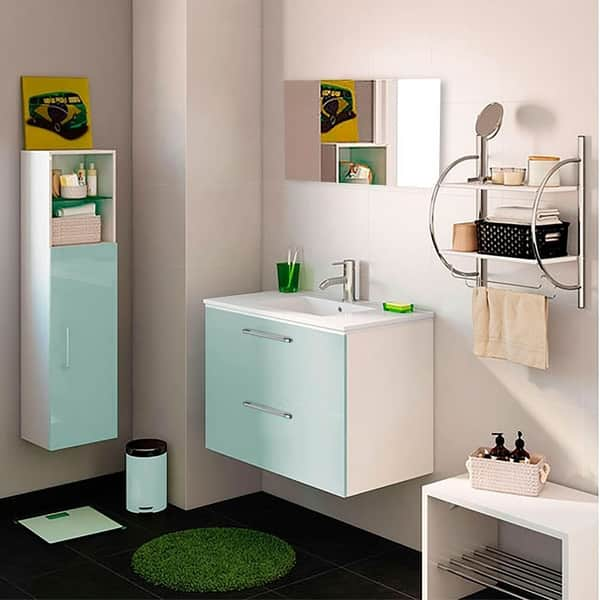 24 Happy Modern Bathroom Vanity Green 24 X 24 X 18 Inch Vanity Ceramic Top And Mirror 2 Drawers On Sale Overstock 30264031