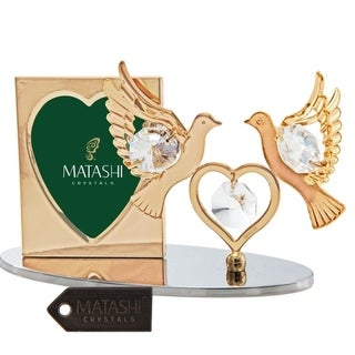 Matashi Home Decorative Showpiece 24K Gold Plated Picture Frame with Crystal Decorated Double Dove Figurine on a Base