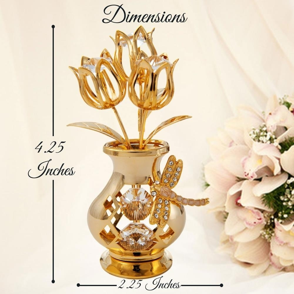 Matashi Home Decorative Showpiece 24k Gold Plated Crystal Studded Flower Ornament In A Vase With Dragonfly Clear Crystals Overstock 30264340