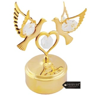 Matashi Home Decorative Showpiece 24K Gold Plated Music Box with Crystal Studded Love Doves Figurine on a Smooth Base