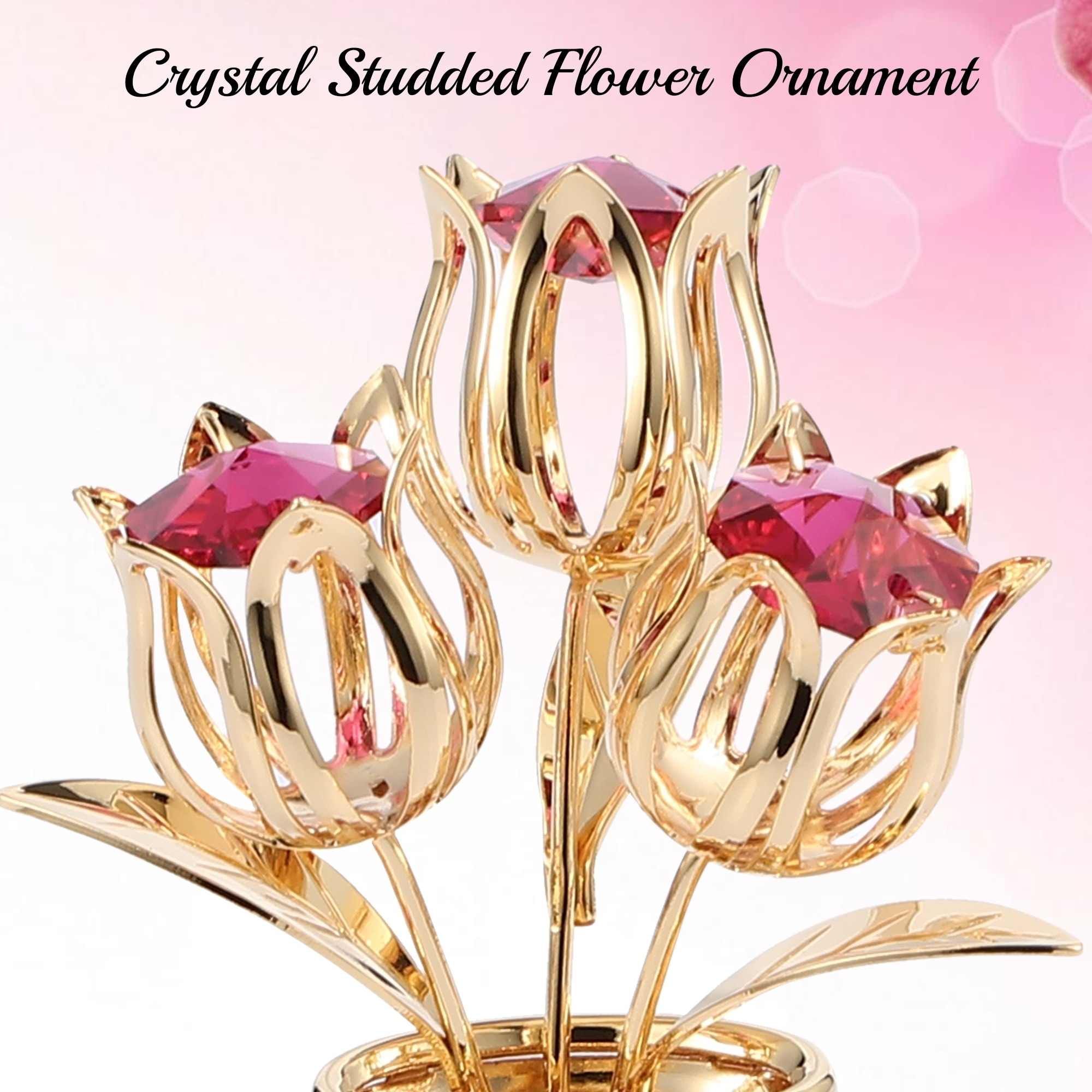24k Gold Plated Flowers Bouquet /& Vase w// Colorful Matashi Crystals,Butterfly