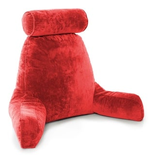 Husband Pillow Bedrest Reading & Support Bed Backrest w/ Arms - Shredded Foam Reading Pillow, Bed Rest Pillow (Red)
