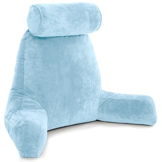 Husband Pillow Bedrest Reading & Support Bed Backrest w/ Arms - Shredded Foam Reading Pillow, Bed Rest Pillow (Sky Blue)