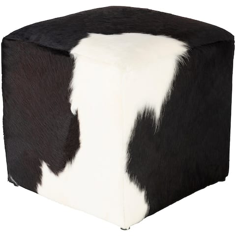 Alford Rustic Hair-on-Hide 16-inch Cube Pouf