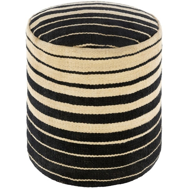 Kanwal Farmhouse Jute Stripe 16-inch Cylinder Pouf