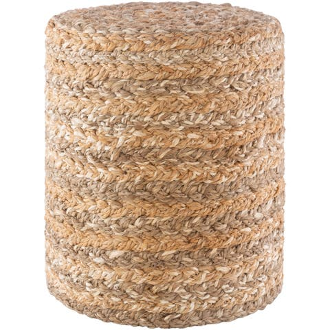 The Curated Nomad Murphy Farmhouse Jute 16-inch Cylinder Pouf