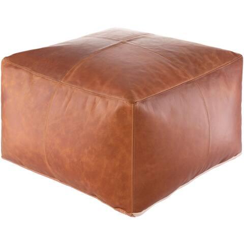 Carbon Loft Horn Stiched Leather 22-inch Square Pouf