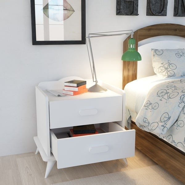 Andaz Modern Accent Nightstand, Bed Side End Table with Two Drawers