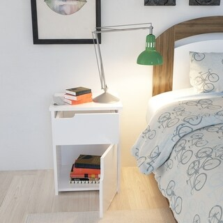 Porch & Den Sesame White Wood Nightstand with Cabinet and Drawer