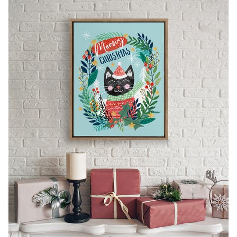 Kate and Laurel Sylvie Christmas Meow Framed Canvas by Mia Charro