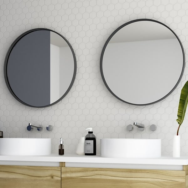 """24"""" Kende Round Mirror / Black / Diameter 24 inches / Decorative Metal Rounded Wall Mirror"""