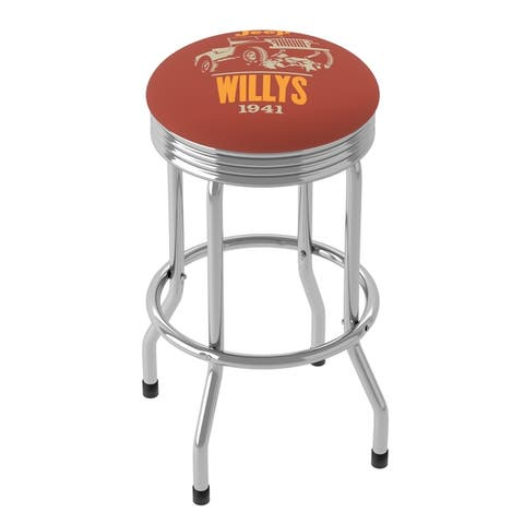 Jeep Willys Red 360 Degree Swivel Barstool with Foam Padded Seat - 20.75 x 20.75 x 29