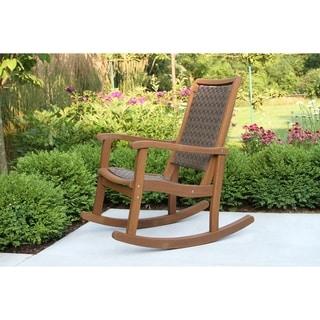 Brown Wicker & Eucalyptus Rocking Chair