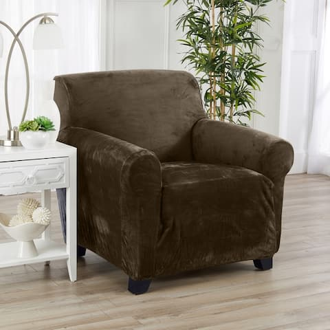 Great Bay Home Velvet Plush Form Fit Stretch Chair Slipcover