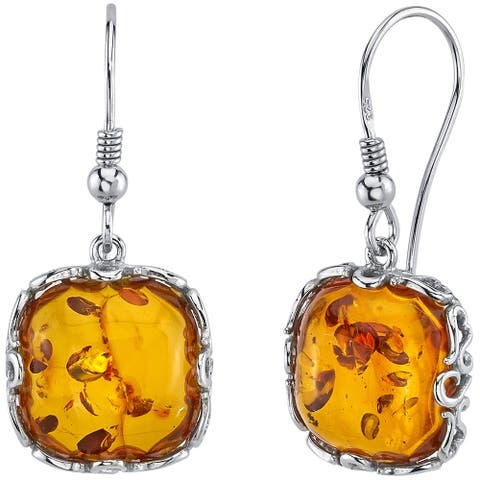 Baltic Amber Cognac Color Cushion Cut Dangle Earrings in Sterling Silver