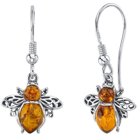 Baltic Amber Bee Dangle Earrings in Sterling Silver