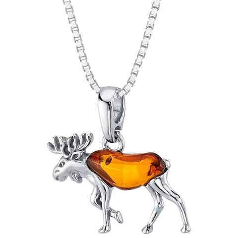 Baltic Amber Moose Pendant Necklace in Sterling Silver, 18""