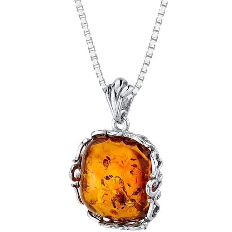 Baltic Amber Cushion Cut Pendant Necklace in Sterling Silver, 18""
