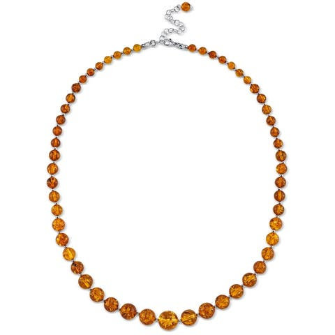 Baltic Amber Strand Necklace in Sterling Silver, 19""