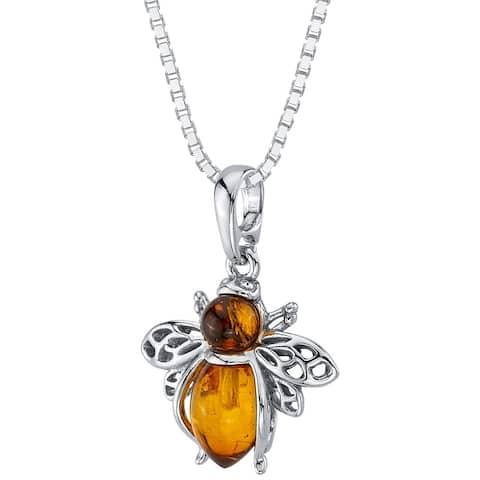 Baltic Amber Bee Pendant Necklace in Sterling Silver, 18""