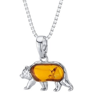 "Link to Baltic Amber Bear Pendant Necklace in Sterling Silver, 18"" Similar Items in Necklaces"