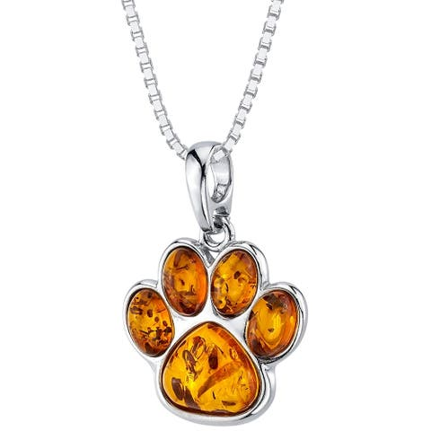 Baltic Amber Paw Print Pendant Necklace in Sterling Silver, 18""