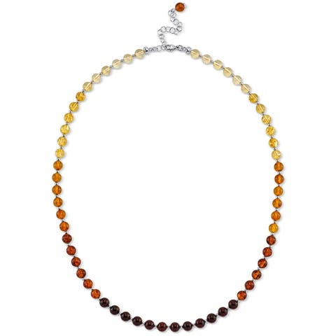 Baltic Amber Tennis Necklace in Sterling Silver, 19""