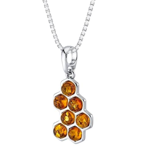 Baltic Amber Honeycomb Pendant Necklace in Sterling Silver, 18""
