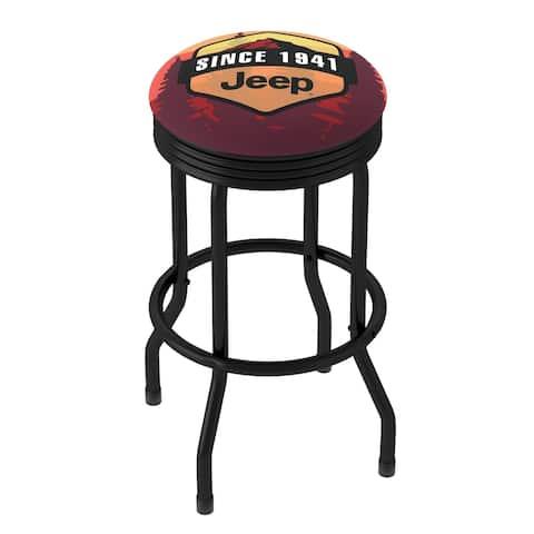 Jeep Sunset Mountain 360 Degree Swivel Black Barstool with Foam Padded Seat - 20.75 x 20.75 x 29