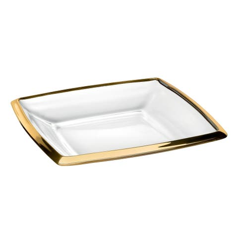 """Majestic Gifts Inc. European Glass Square Plate W/ Gold Band-7"""""""