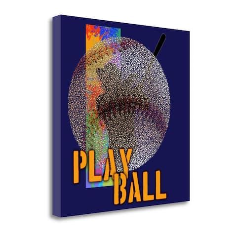 """Play Baseball - Blue"" by Jim Baldwin, Fine Art Giclee Print on Gallery Wrap Canvas, Ready to Hang"