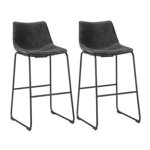 Charcoal Grey Faux Leather Bar Chair (Set of 2)