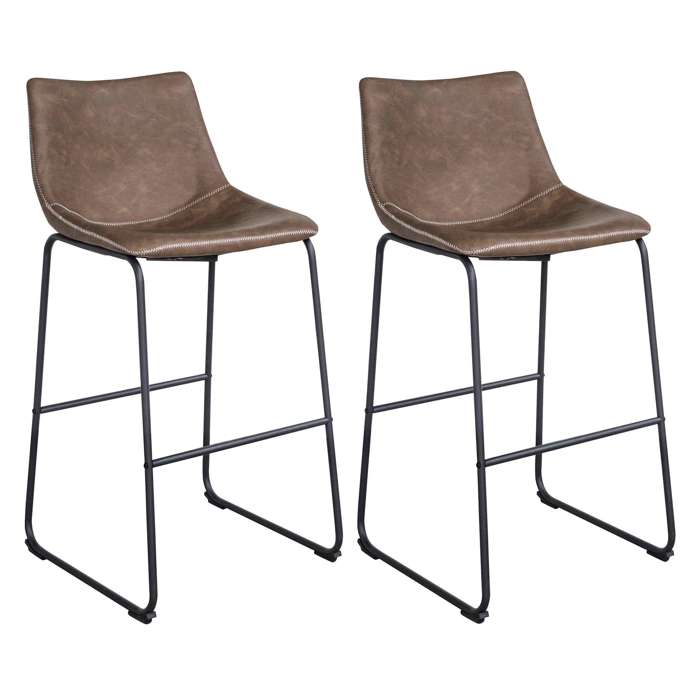 Picture of: Shop Classic Faux Leather Bar Chair Set Coffee On Sale Overstock 30267614