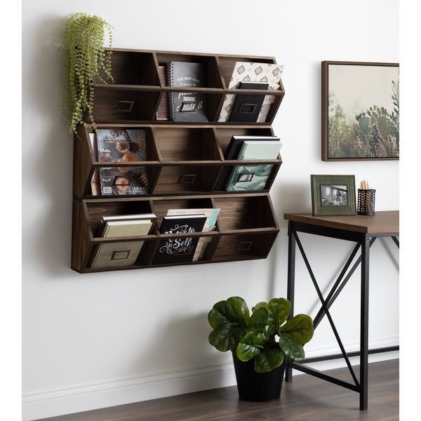 Kate and Laurel Burdock Wood and Metal Storage Wall Shelf - 36x7.5x12
