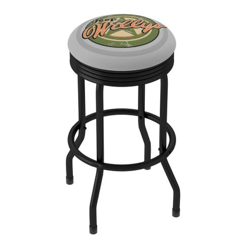Jeep Willys Vintage 360 Degree Swivel Black Ribbed Barstool with Foam Padded Seat - 20.75 x 20.75 x 29