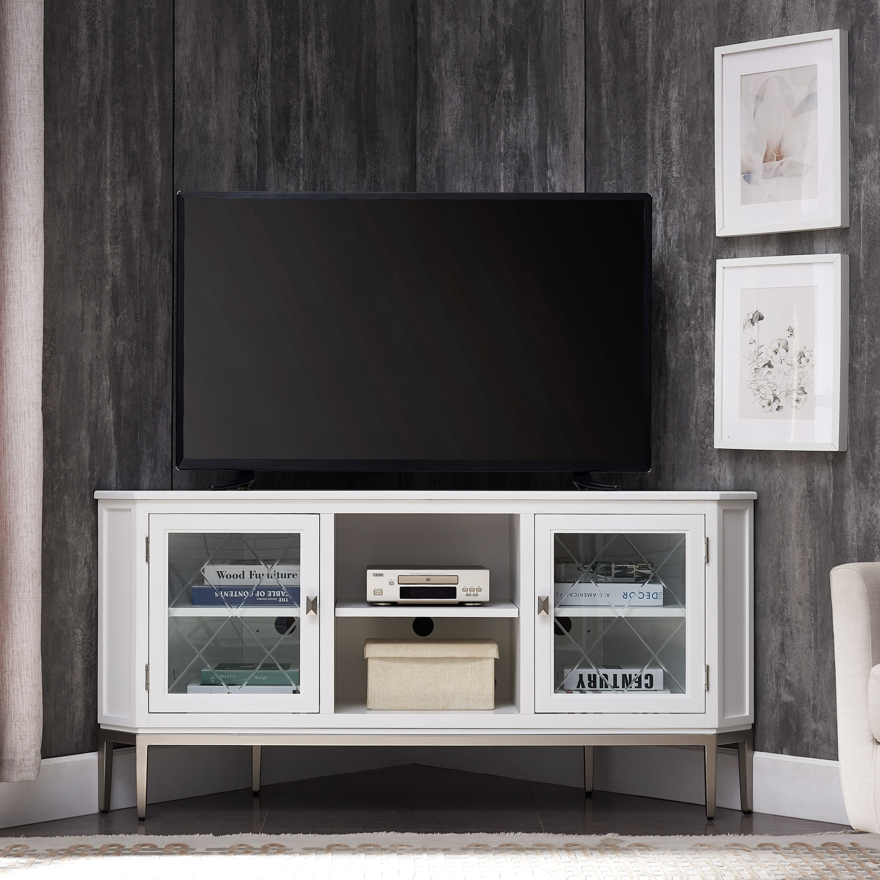 Shop White Solid Wood Pewter Steel 57 Inch Corner Tv Console With Smoke Grey Interior Overstock 30267828
