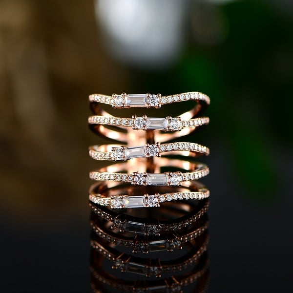 5 Row Swarovski Band Made with 18k Rose Gold Overlay. Opens flyout.